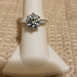 2.50 TCW Ice Blue Moissanite Ring w/accents